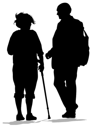 Vector drawing of two elderly people with cane Vector
