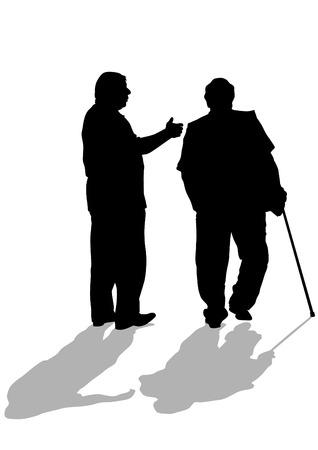 pensioen: Vector tekening van twee oudere mannen met riet