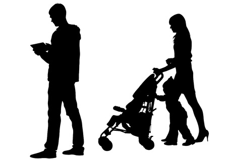 silueta niño: Dibujo vectorial familias con un niño Vectores