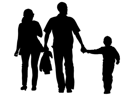 Vector drawing families with a child Vector