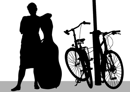 virtuoso: Vector drawing a girl with a cello and a bike