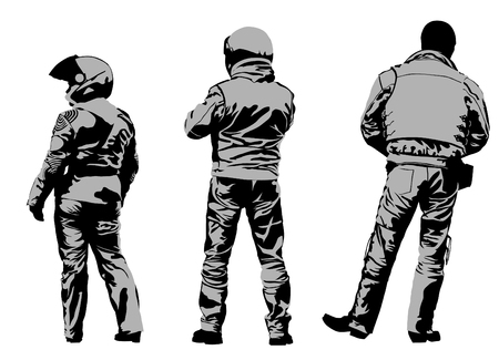 leather gloves: Vector drawing silhouettes of motorcyclists protective gear Illustration
