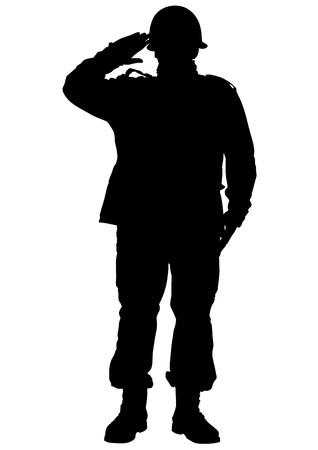 soldiers: Vector drawing of a soldier in uniform with weapon
