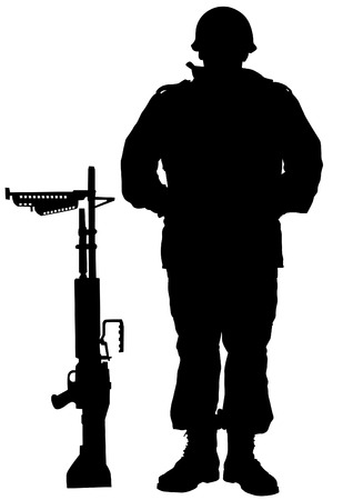 Vector drawing of a soldier in uniform with weapon Stock Vector - 23039538