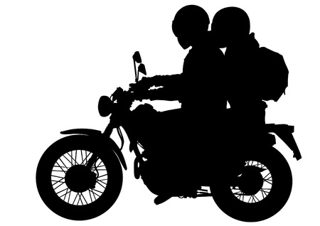 Vector drawing silhouettes of motorcyclists protective gear Illustration