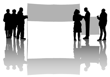 Vector drawing of a group of people with flags Illustration