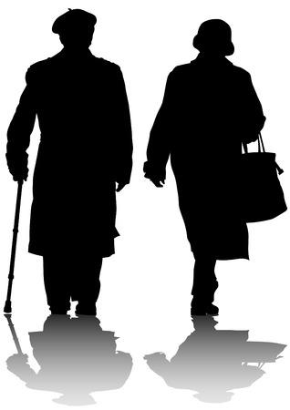 pensioen: Vector tekening van twee ouderen met riet