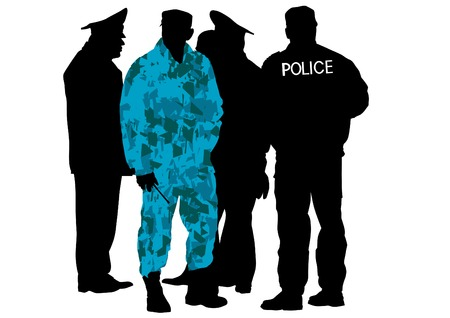 dispersal: Vector drawing of special police force