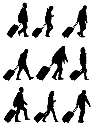 people walking: Vector drawing crowds of people whit travel suitcases