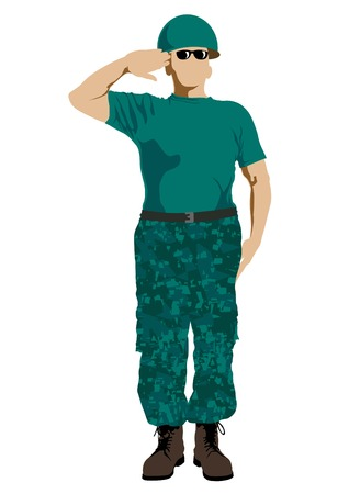defend: Vector drawing of a soldier in uniform with weapon