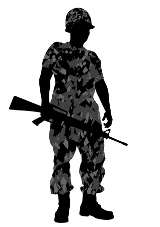 Vector drawing of a soldier in uniform with weapon Stock Vector - 23207228