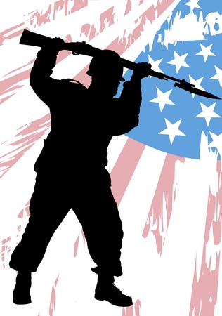infantry: Vector drawing of a soldier in uniform with flag Illustration