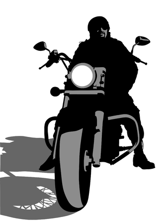 Vector drawing silhouettes of motorcyclists protective gear Vector