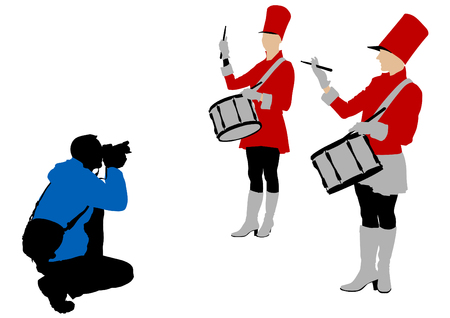 Vector drawing girls with drums and photographer Vector