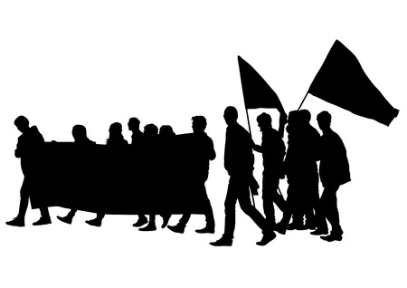 drawing of anarchists with large flags