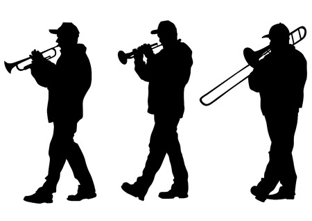 drawing of a man walking with a trombone