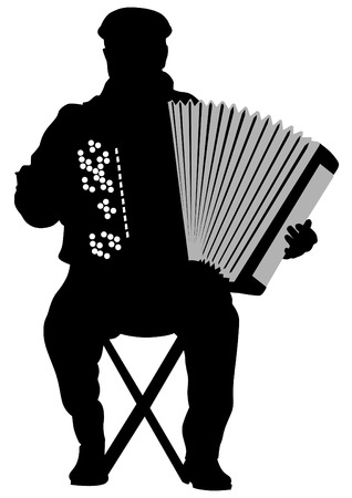 keyboard player: drawing of an old man with an accordion