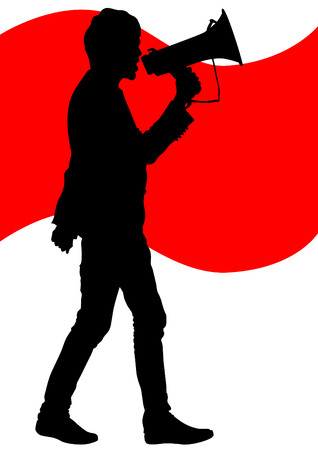 activism: ilustraci�n de un hombre joven con un meg�fono Vectores