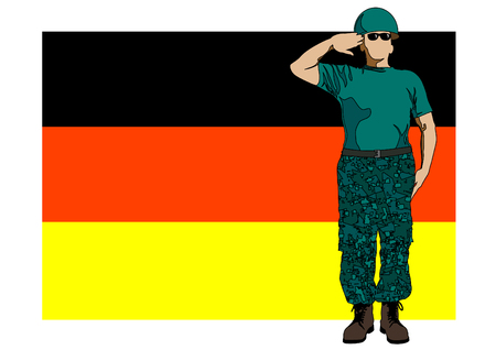 infantry: drawing of a soldier in uniform with flag