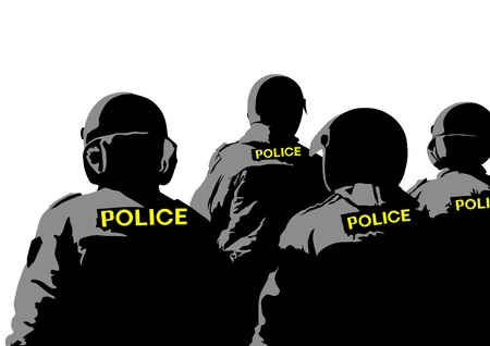 drawing of special police force Stock Vector - 23654312
