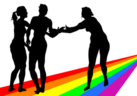 illustration of beautiful women on a rainbow Vector