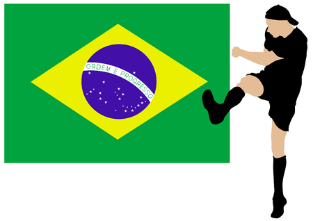 breast comic: Football player in the movement against the Brazilian flag