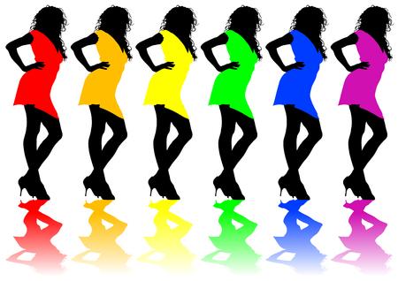 fiatal nők: Fiatal nők divatos ruha fehér Illusztráció