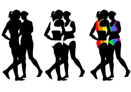 curvaceous: Young women in bikini on white