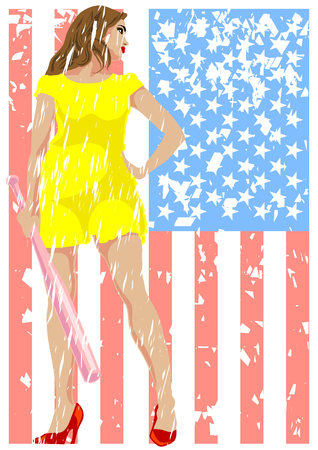 fastpitch: Young girl in a dress with a bat in his hands and american flag Illustration