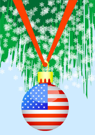 Christmas ball with american flag on the tree Vector