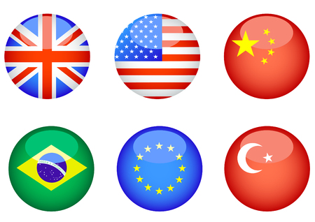 Computer icons in the form of buttons with state flags Vector