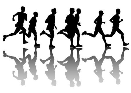 Athletes on running race on white background