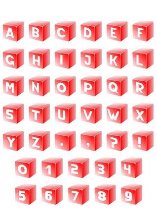 red cube: Insieme lettera dell'alfabeto in rosso cubo Vettoriali