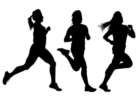 woman running: Woman athletes on running race on white background