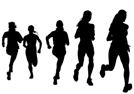 Woman athletes on running race on white background