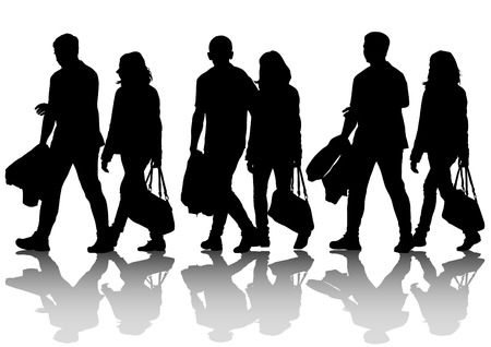 people walking: Vector drawing of a couple of women and man Illustration