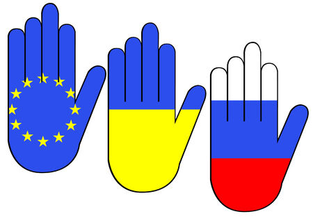 compromise: Siluetas de manos con banderas de Ucrania y Rusia