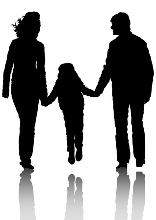 Silhouette families with a little child Vector