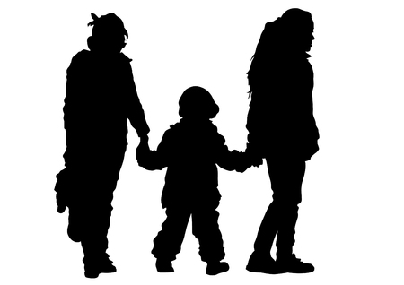 girls holding hands: Silhouettes of little girls holding hands