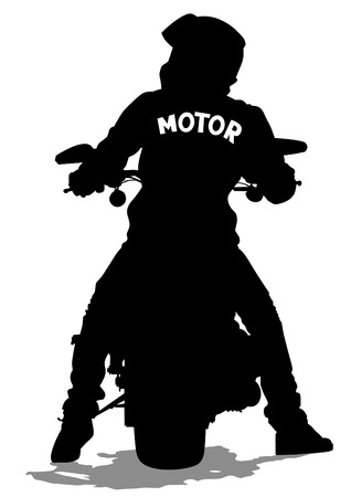 leather coat: Silhouettes of big motorcycl and people Illustration