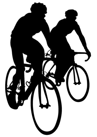 cyclist silhouette: Sport man of cyclists at competitive