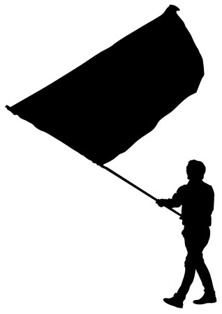 Younge man with large flag on street