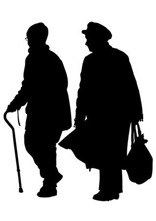 Two elderly woman with cane Vector