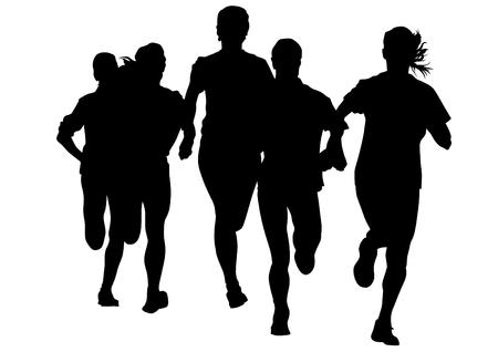Vrouw atleten op loopwedstrijd op een witte achtergrond