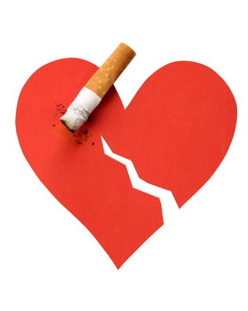 killing cancer: Broken heart and cigarette butt on a white background