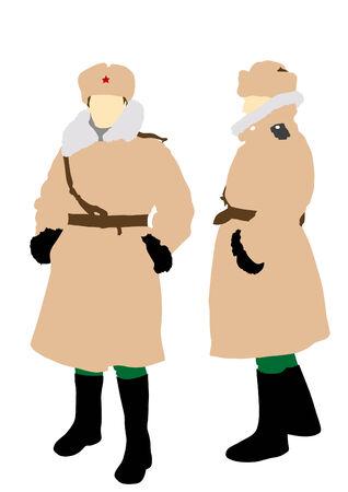 sheepskin: Women soldiers in winter sheepskin coat on a white