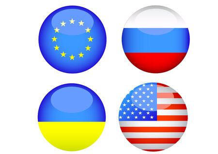 diplomatic: Silhouettes of button with flags of Ukraine and Russia Illustration