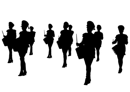 Younge girls with big drums Vector