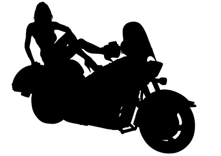 Silhouettes of motorcycle and beauty women  Vector