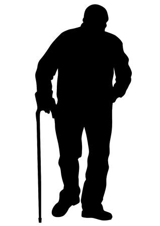 거리에 지팡이와 노인 일러스트